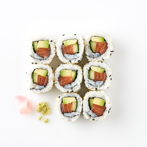 Uramaki (8 Pieces) Salmon, Avocado , Cucumber, Sesame Seeds