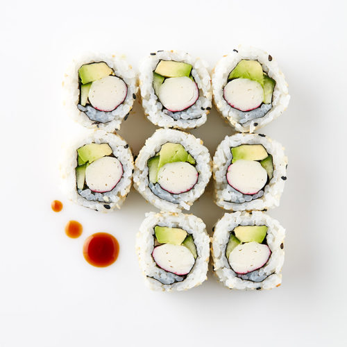 Uramaki California roll (8 Pieces) Crabstick, Cucumber Avocado, Sesame Seeds