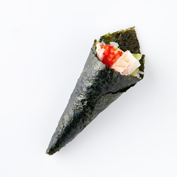 Temaki- Prawn, Avocado, Mayonnaise, Lumpfish Caviar (1 Roll)